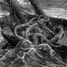 Mythical giant octopus attacking a sailor on a boat