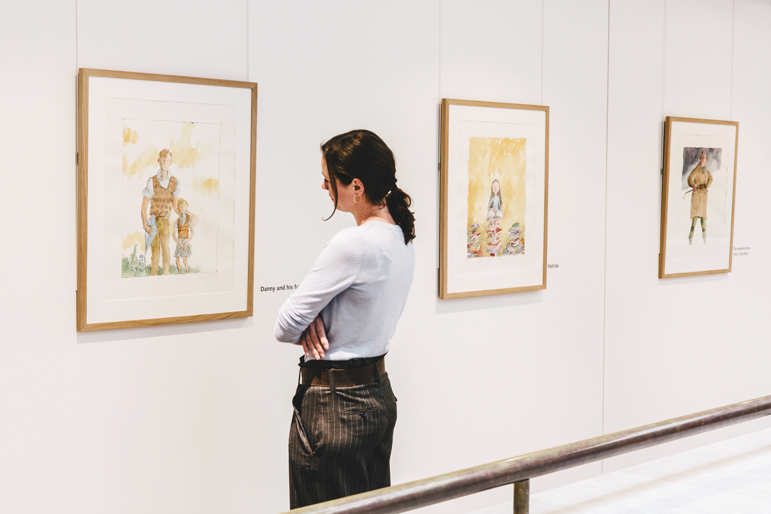 Quentin Blake: The Roald Dahl Centenary Portraits, free display at the British Library (photo: Luca Sage)