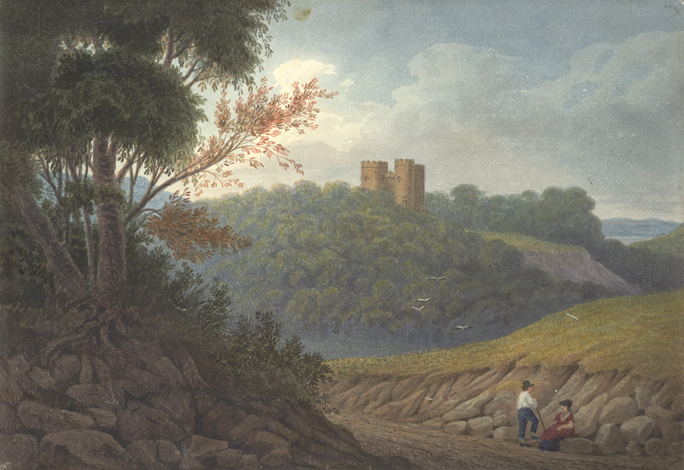 Painting of a castle on a hill