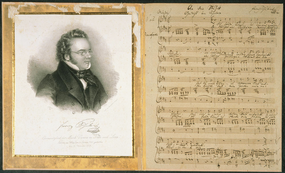 Image of music score and composer
