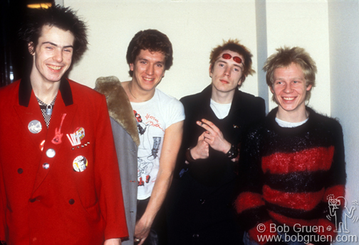 (L-R) Sid Vicious, Steve Jones, Johnny Rotten and Paul Cook of The Sex Pistols in Luxembourg. November 1977. © Bob Gruen / www.bobgruen.comPlease contact Bob Gruen's studio to purchase a print or license this photo. email: websitemail01@aol.com phone: 212-691-0391