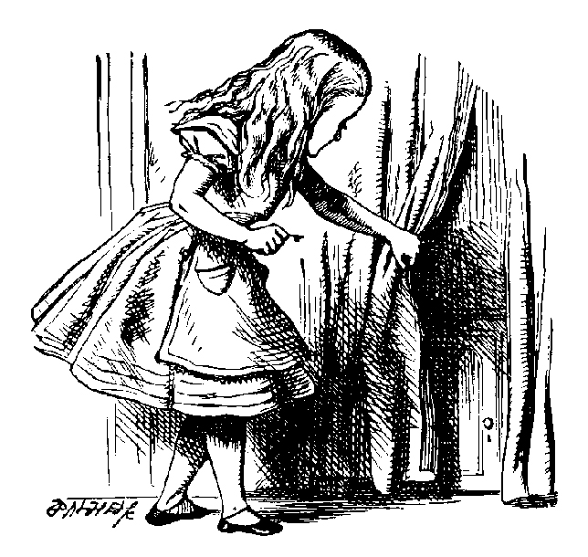 Alice opening a small door