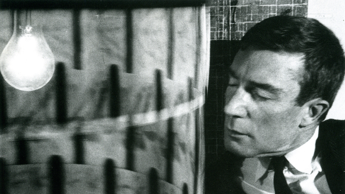Black and white image of Brion Gysin (copyright: Musee des Arts Decoratif)
