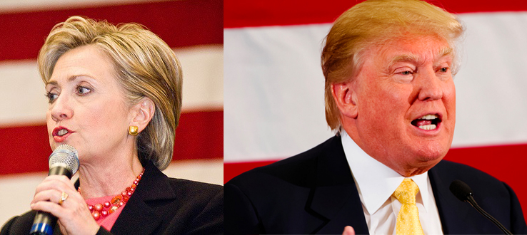 Image of Hillary Clinton and Donald Trump for Democrats v Republicans: US elections debate event at the British Library