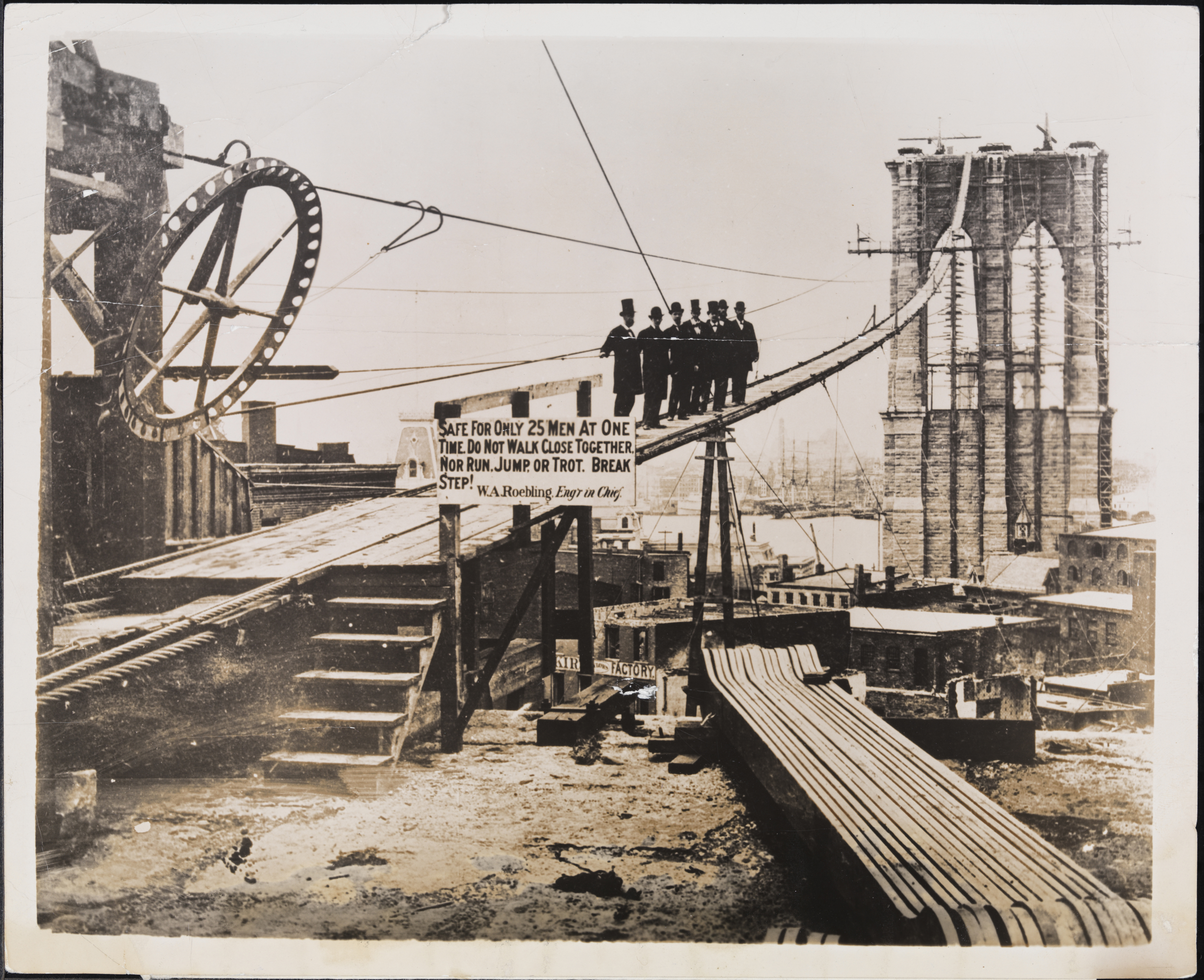 Brooklyn Bridge Under Construction, courtesy of the Museum of the City of New York