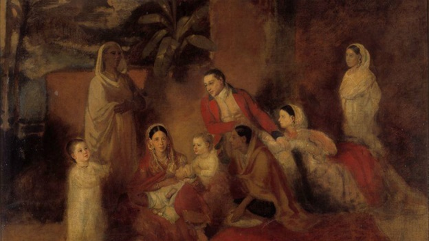 Painting of Asian African family