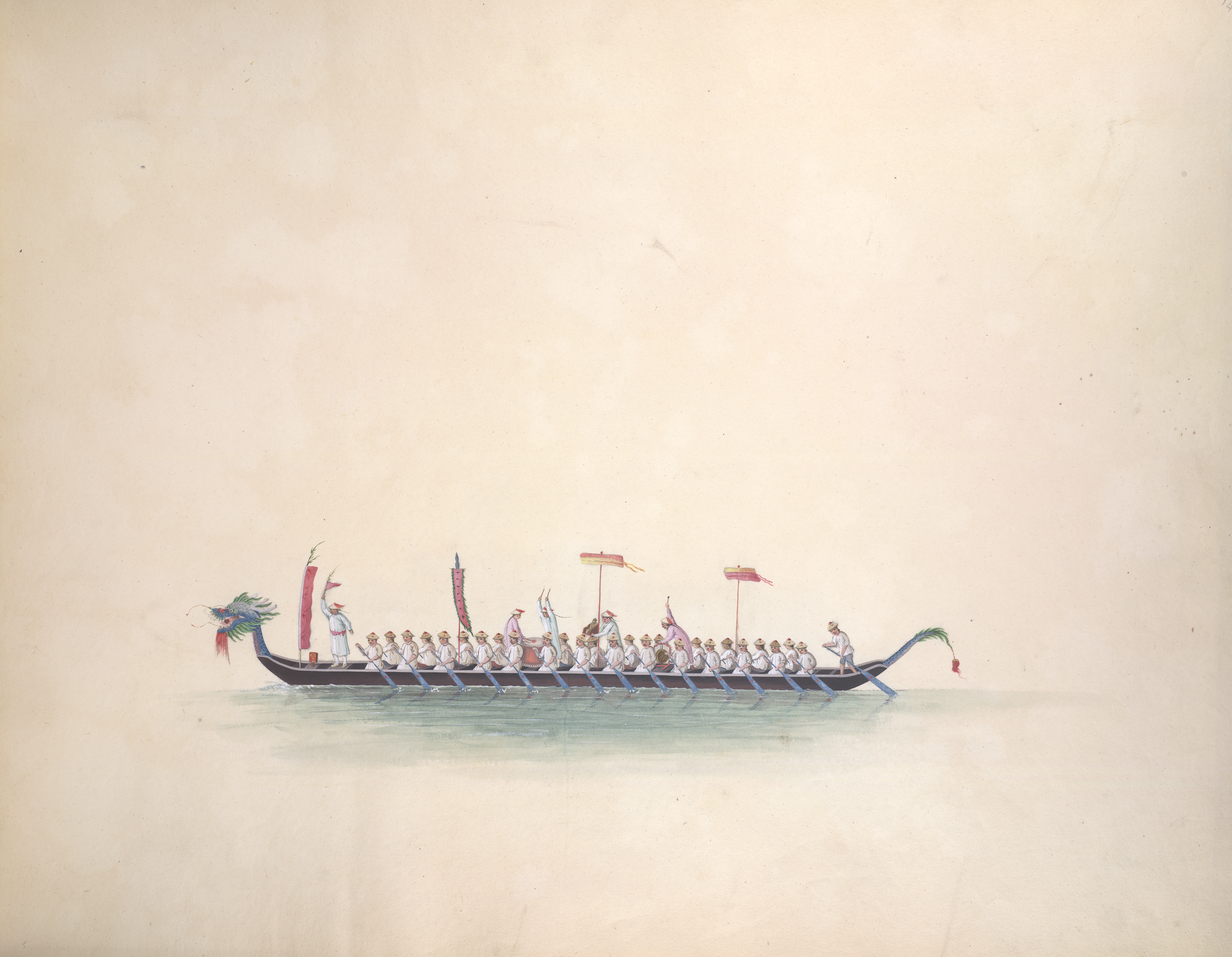 'Lung Sheun. Literally Dragon or Snake boat. On a particular festival of the Chinese which falls on their fifth month, boats of this construction are used as Race boats'. Inscribed 'Dragon boat of the festival on the 5th of the 5th month'. Opaque watercolour. ChinaCanton style. Originally publishedproduced in 1800 - 1805.