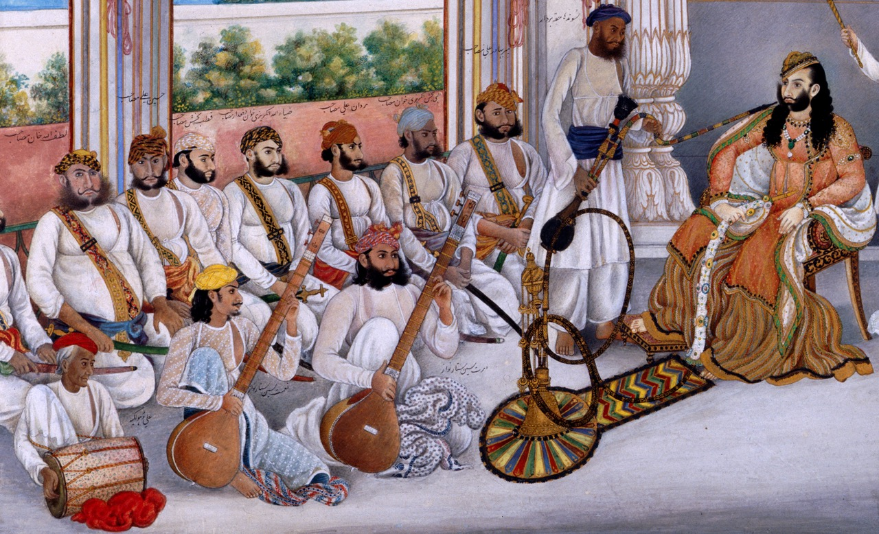 Nawab Muhammad 'Abd ul-Rahman Khan of Jhajjhar entertained by members of the Delhi kalāwant lineage (1849, British Library Add.Or. 4680)