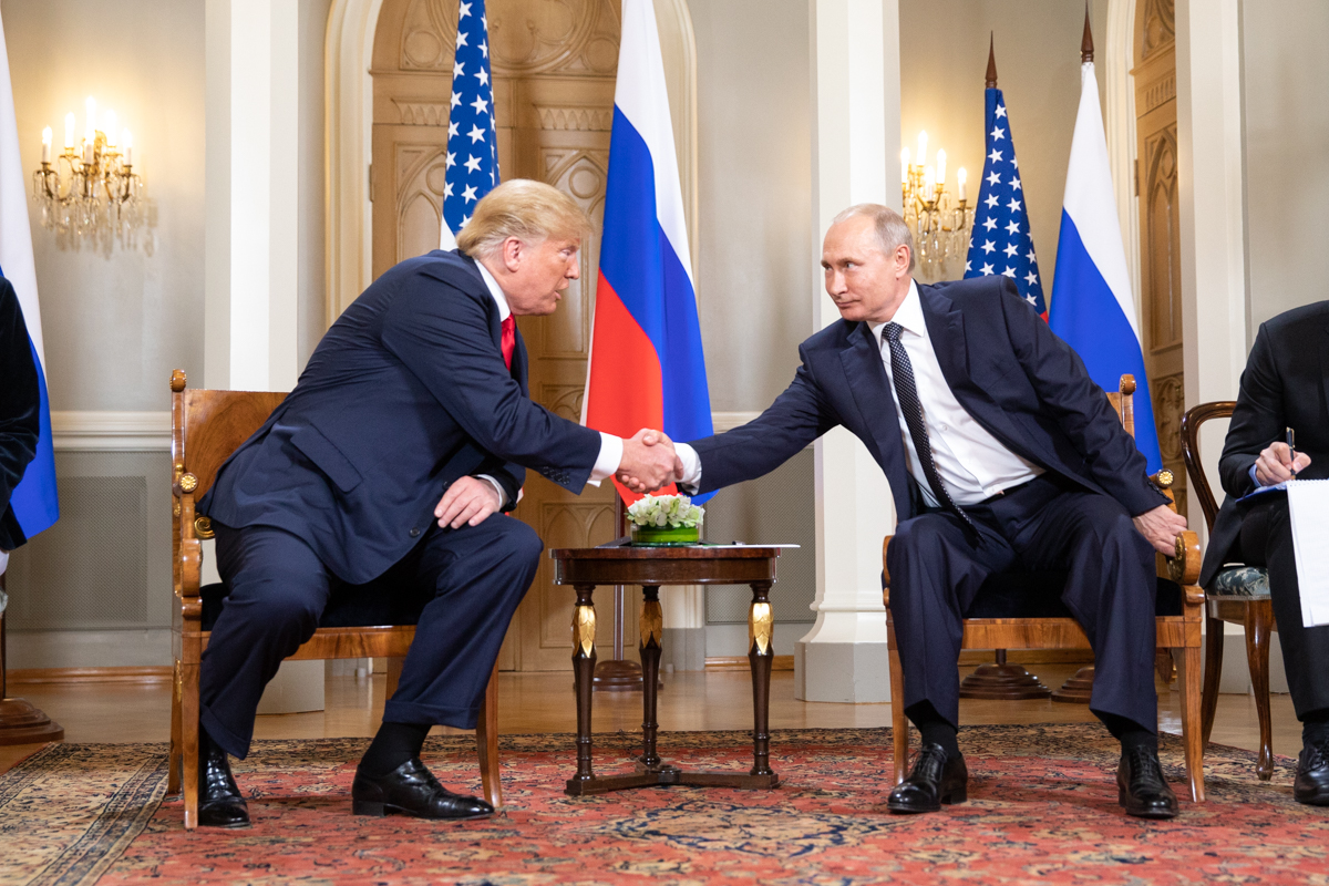 Donald Trump and Vladimir Putin meet at Helsinki, 2018 (official White House photograph)