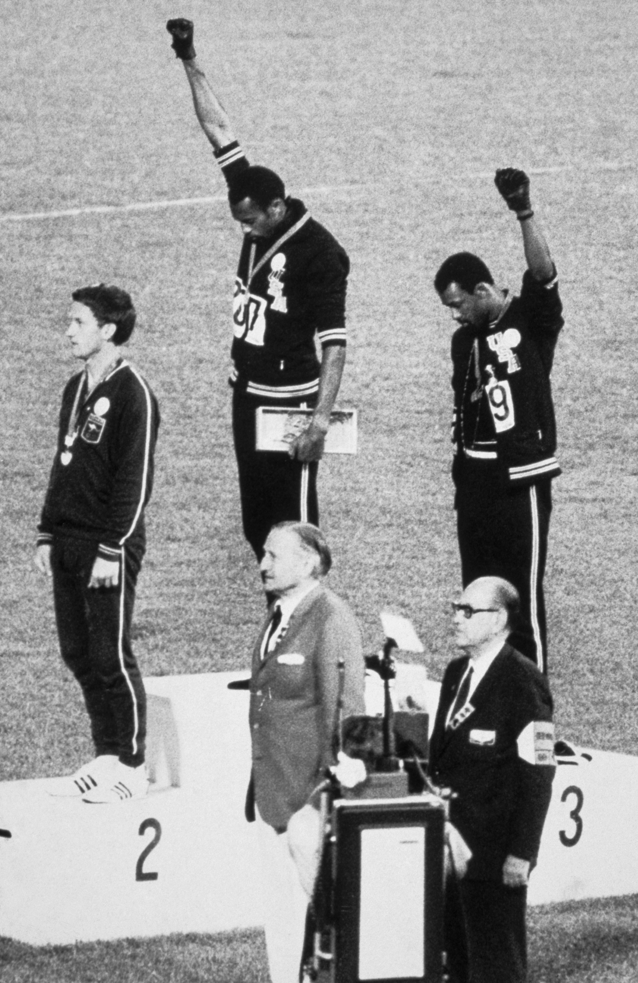 Tommi Smith John Carlos fists raised and Peter Norman  1968 Summer Olympics  Bettmann Getty Images