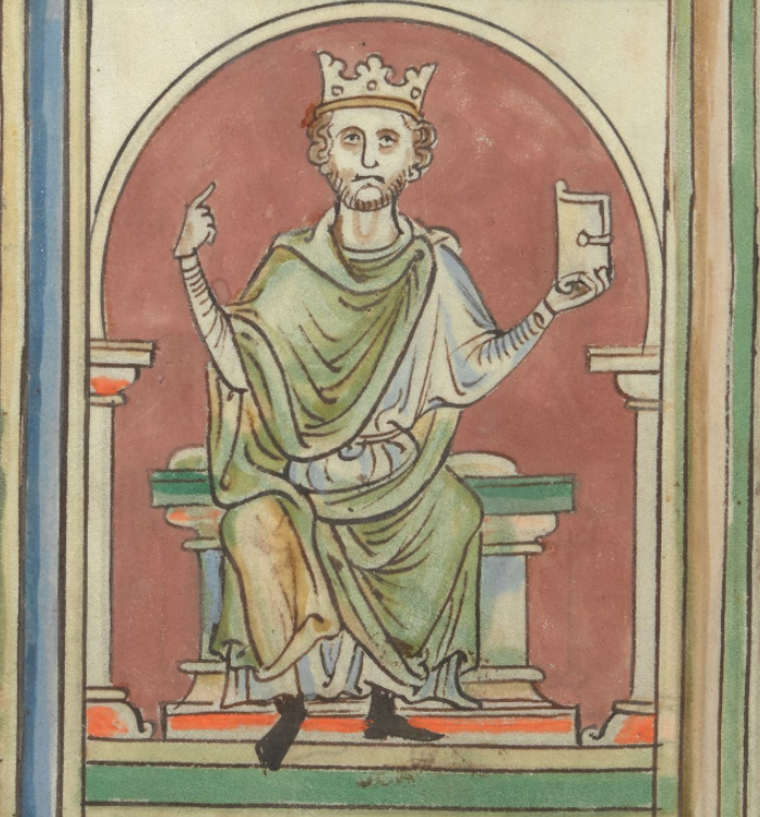 Image of Edward the Confessor, from Matthew Paris's Chronicles of England, made c. 1255-1259 (Cotton MS Claudius D VI, f. 8v)