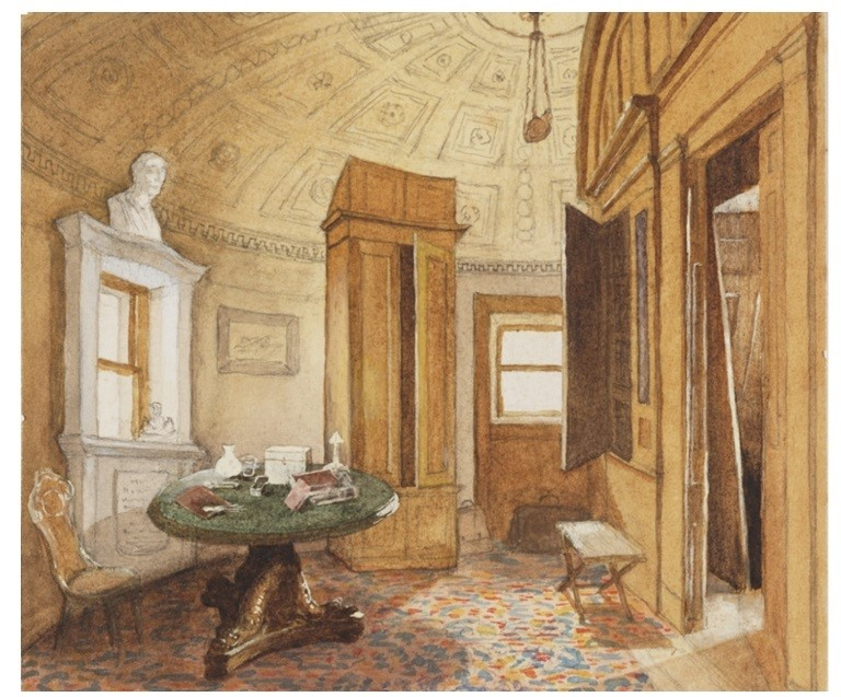 1865 watercolour of the Strangers' Room, Bell Rock Lighthouse, reproduced by permission of the National Library of Scotland