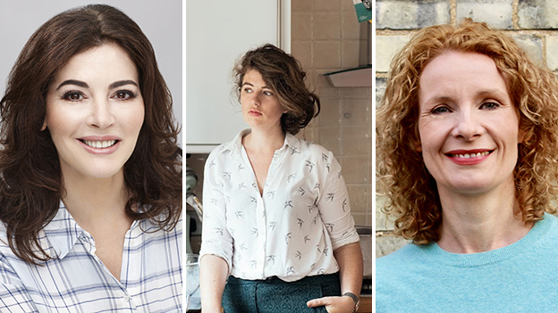 Composite of guests (Left to Right: Nigella Lawson, Ella Risbridger, Bee Wilson)