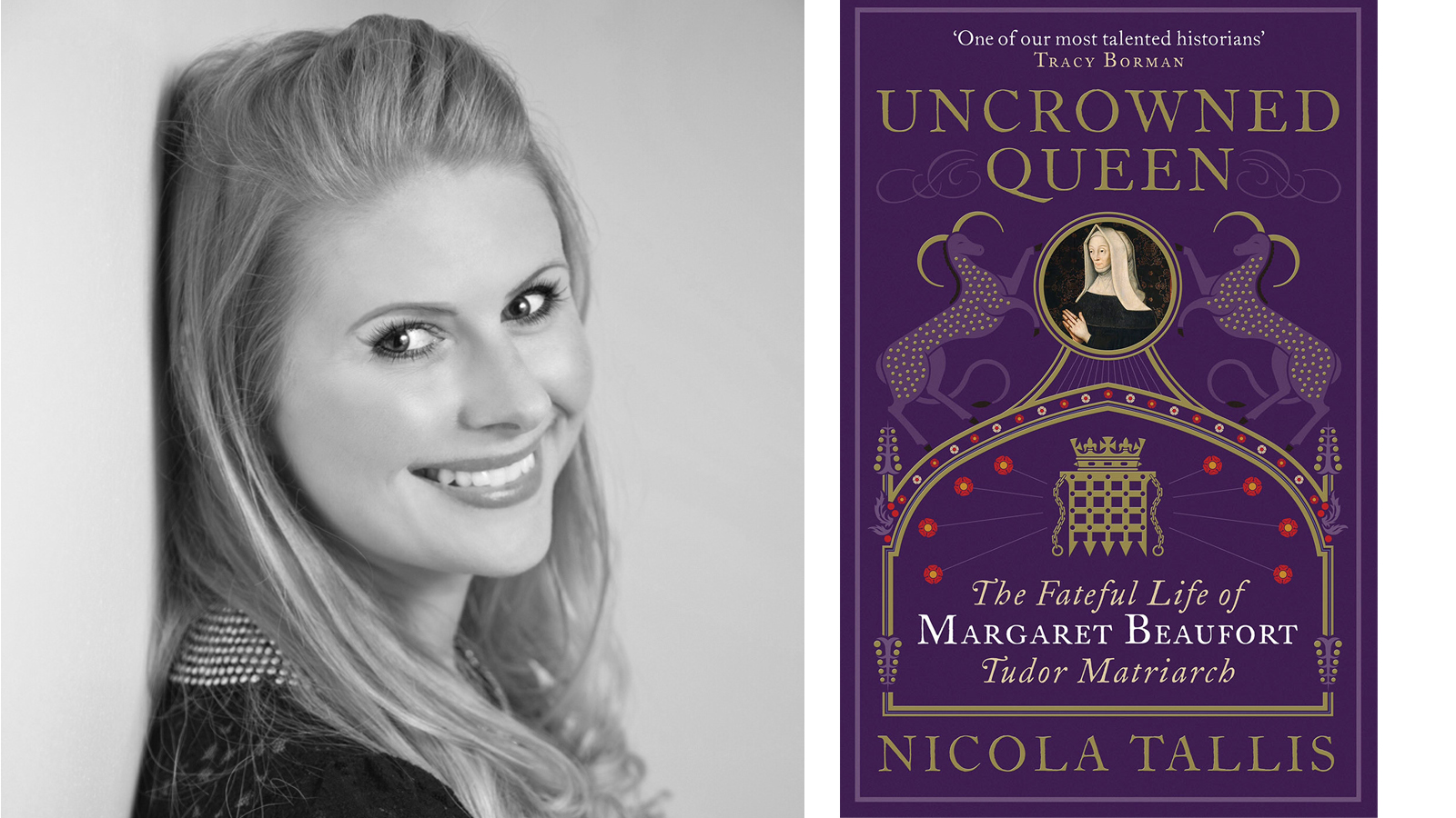 Photograph of Nicola Tallis by Joey Menghini, alongside cover art for her book Uncrowned Queen