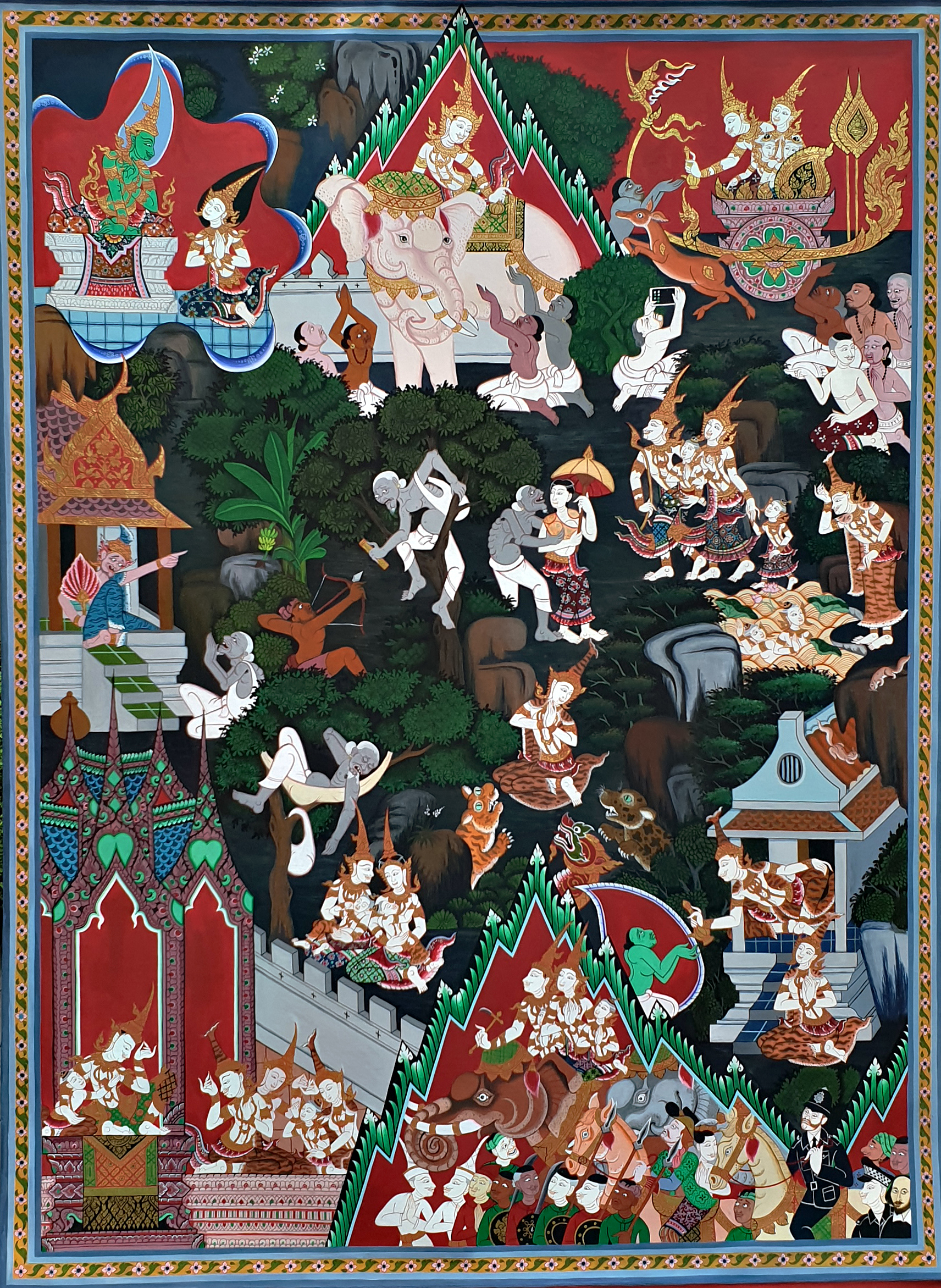 A Thai Buddhist wall paintings featuring a woodland scene