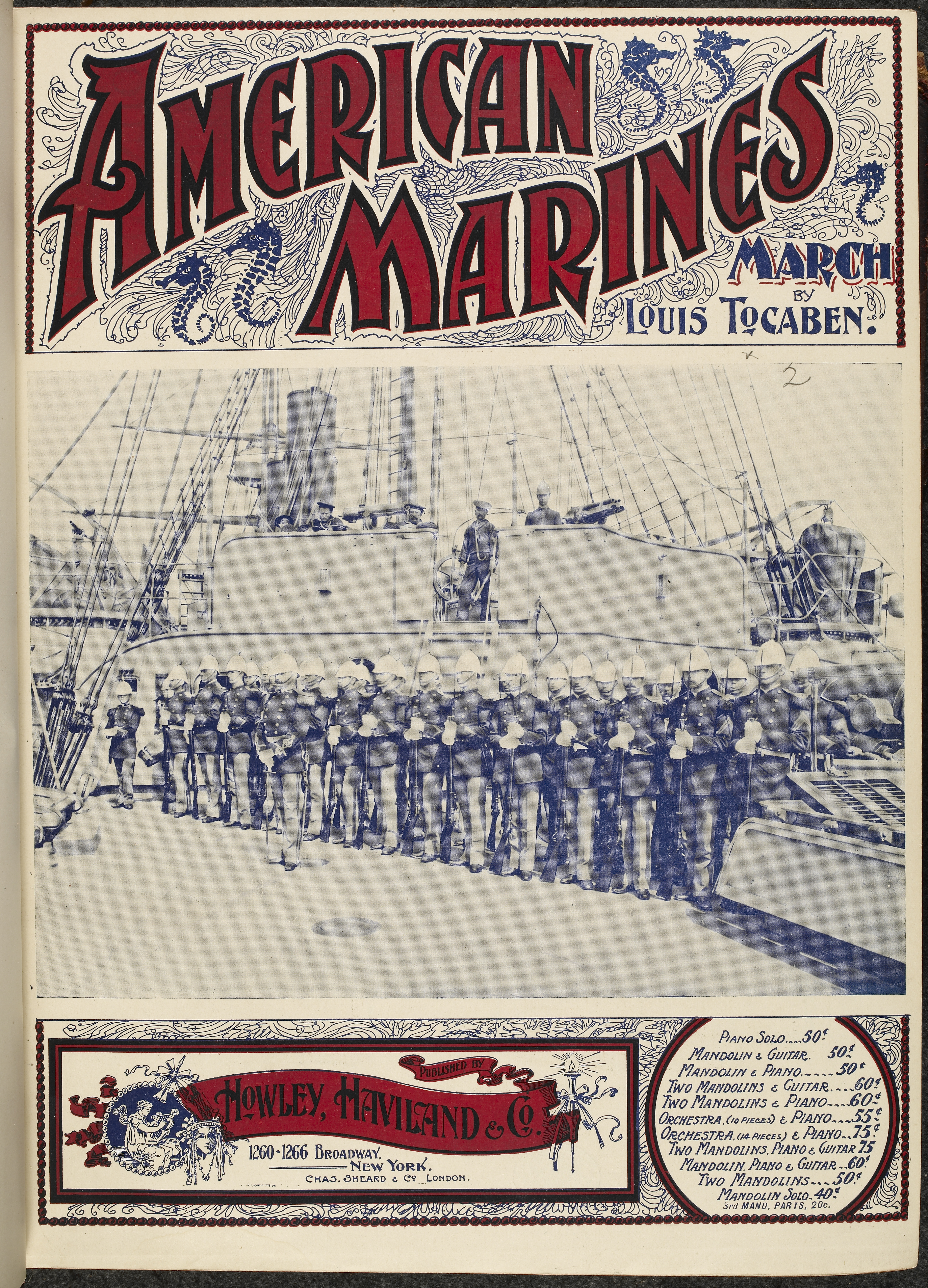 Front cover of illustrated music score. American military music. A military march or piano solo. Marines on the deck of a ship.