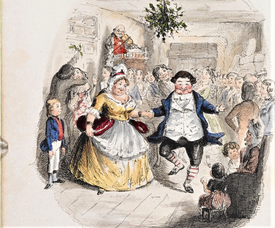 An illustration of a Christmas party: a man and a woman dance under mistletoe. From Mr Fezziwig's Ball illustration by John Leech from A Christmas Carol by Charles Dickens, London 1843