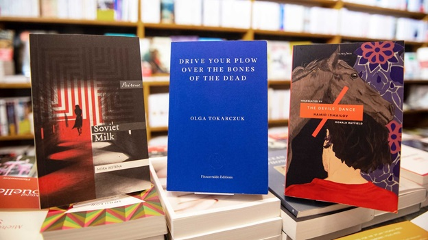 Bookshop display showing books from Nora Ikstena, Olga Tokarczuk and Hamid Ismailov.