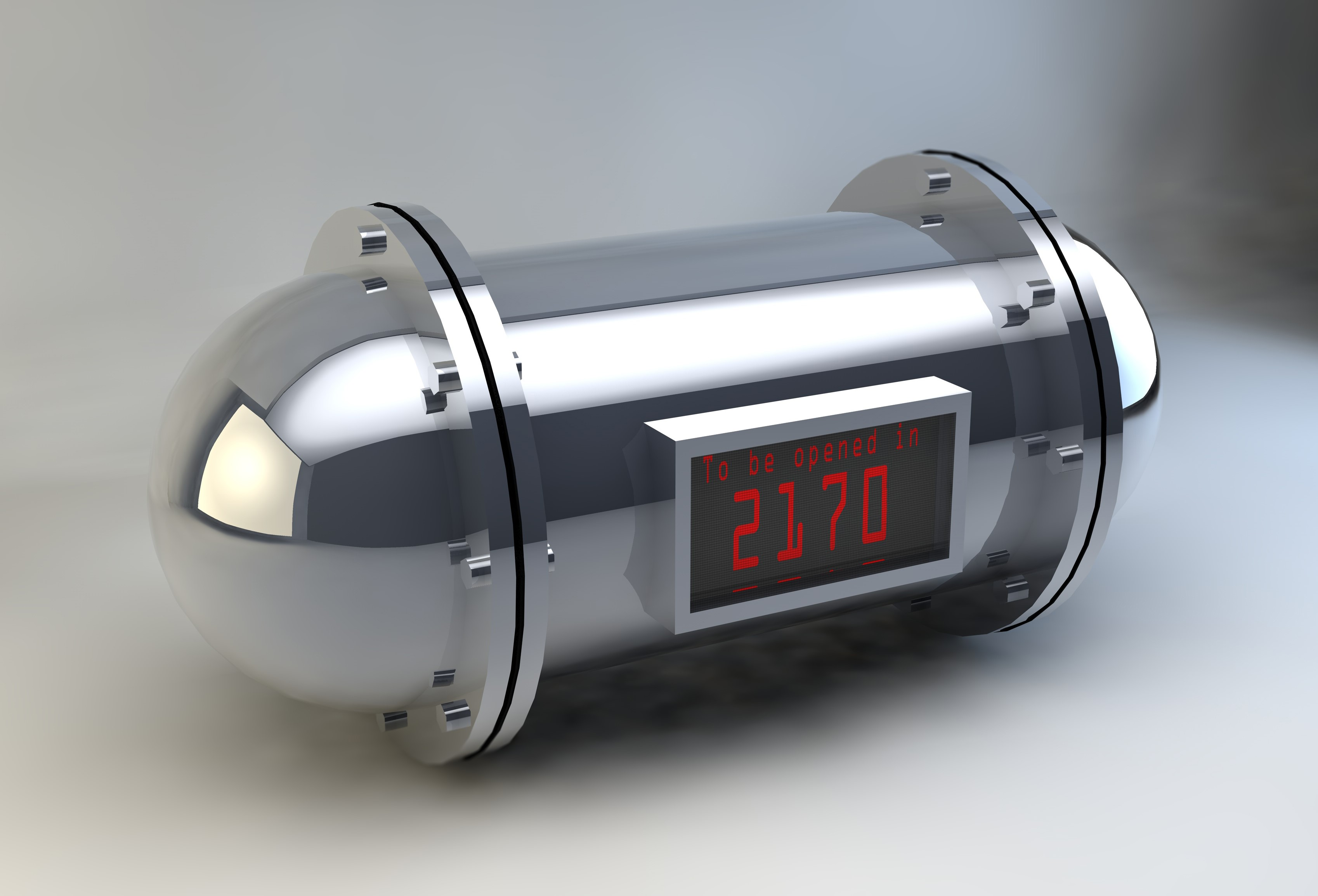 A metal, cylindrical time capsule. The red digital display reads: to be opened in 2170