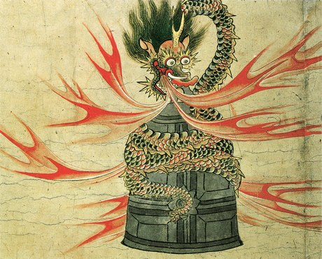 A painting of a Japanese dragon breathing flames