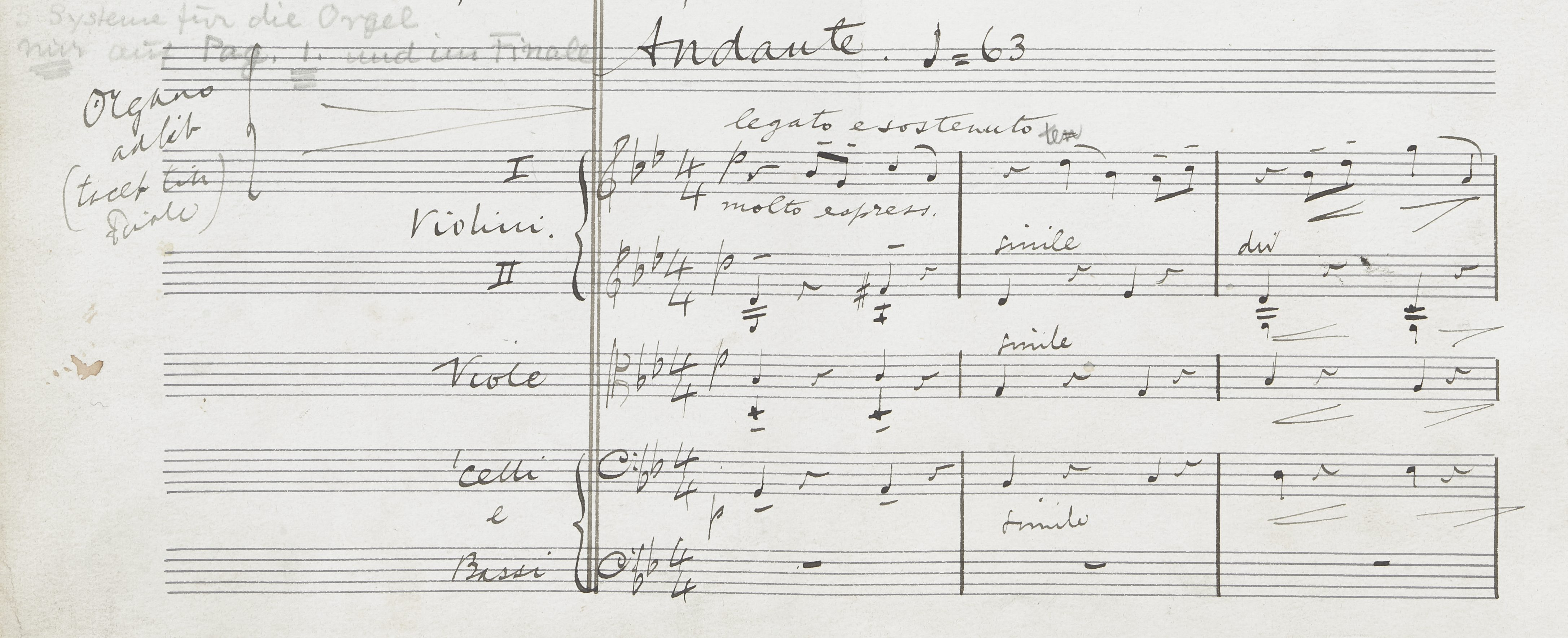A handwritten Elgar score, with parts for violin, viola, cello and bass
