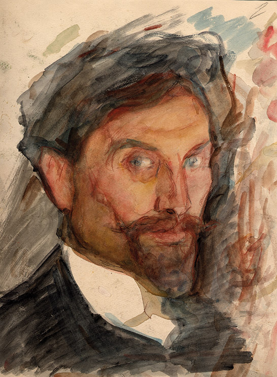 A painted self portrait of Leonid Pasternak