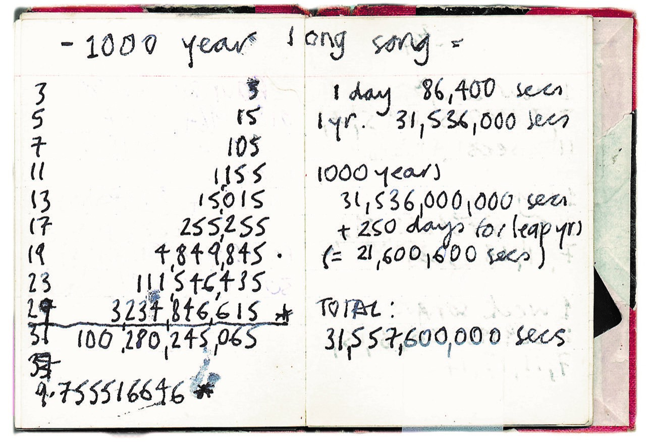 Notebook of handwritten calculations for the 1,000 year long Longplayer piece of music