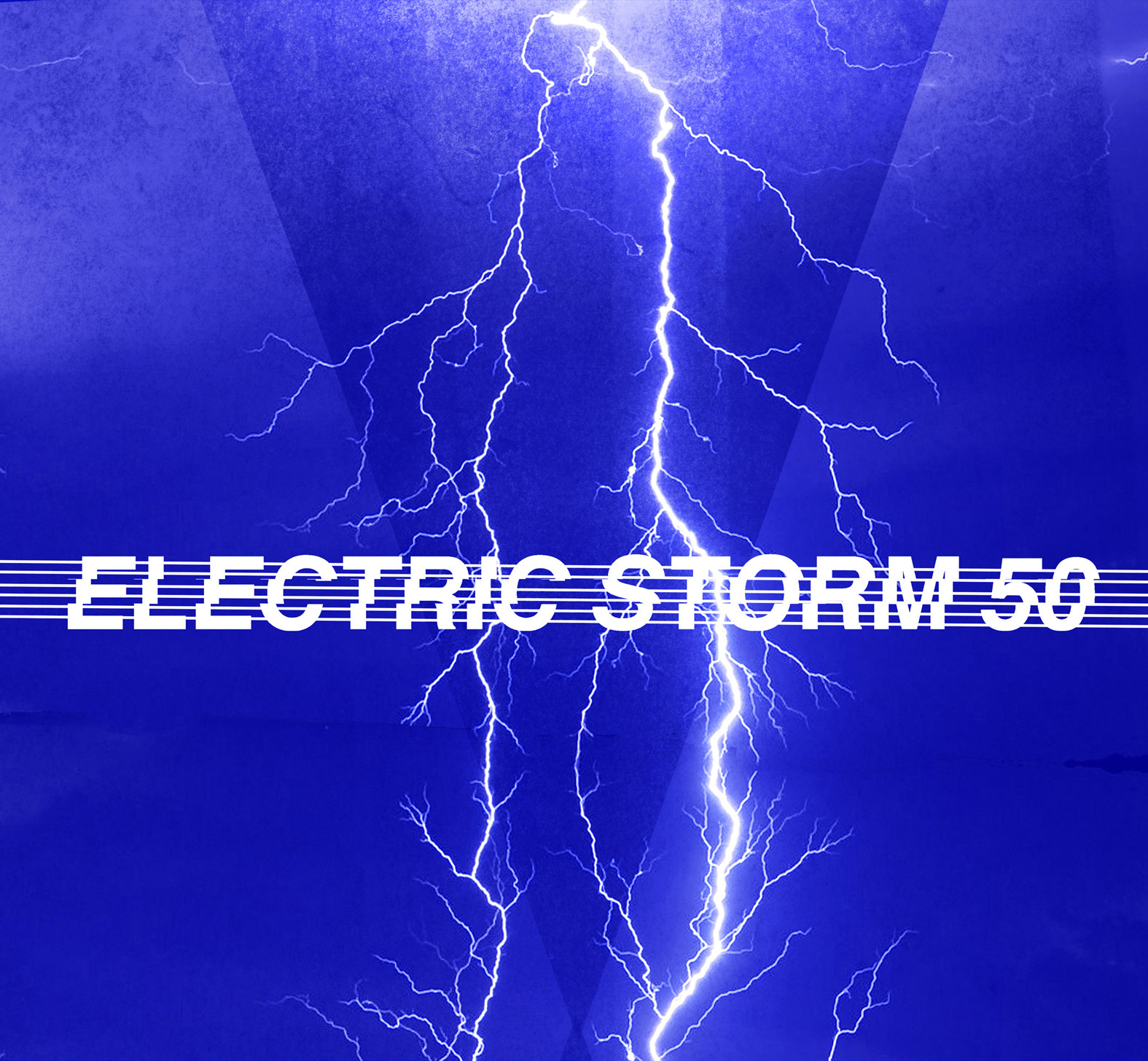 A flash of lightning crosses a blue sky and the words Electric Storm 50