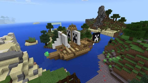 A still from the game Minecraft: a pirate ship at sea