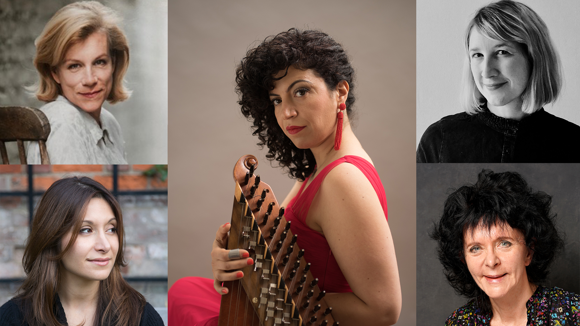 Photographs of Dina Nayeri, Ruth Padel, Juliet Stevenson, Ellen Wiles and Maya Youssef