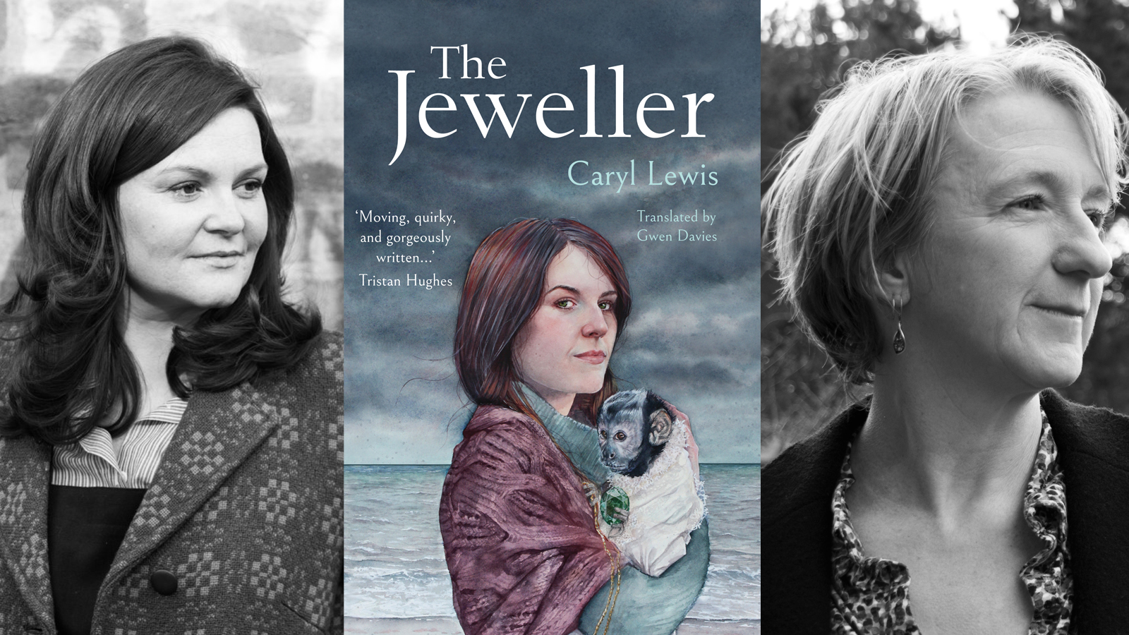 Photographs of Caryl Lewis and Gwen Davies, plus the cover art from The Jeweller