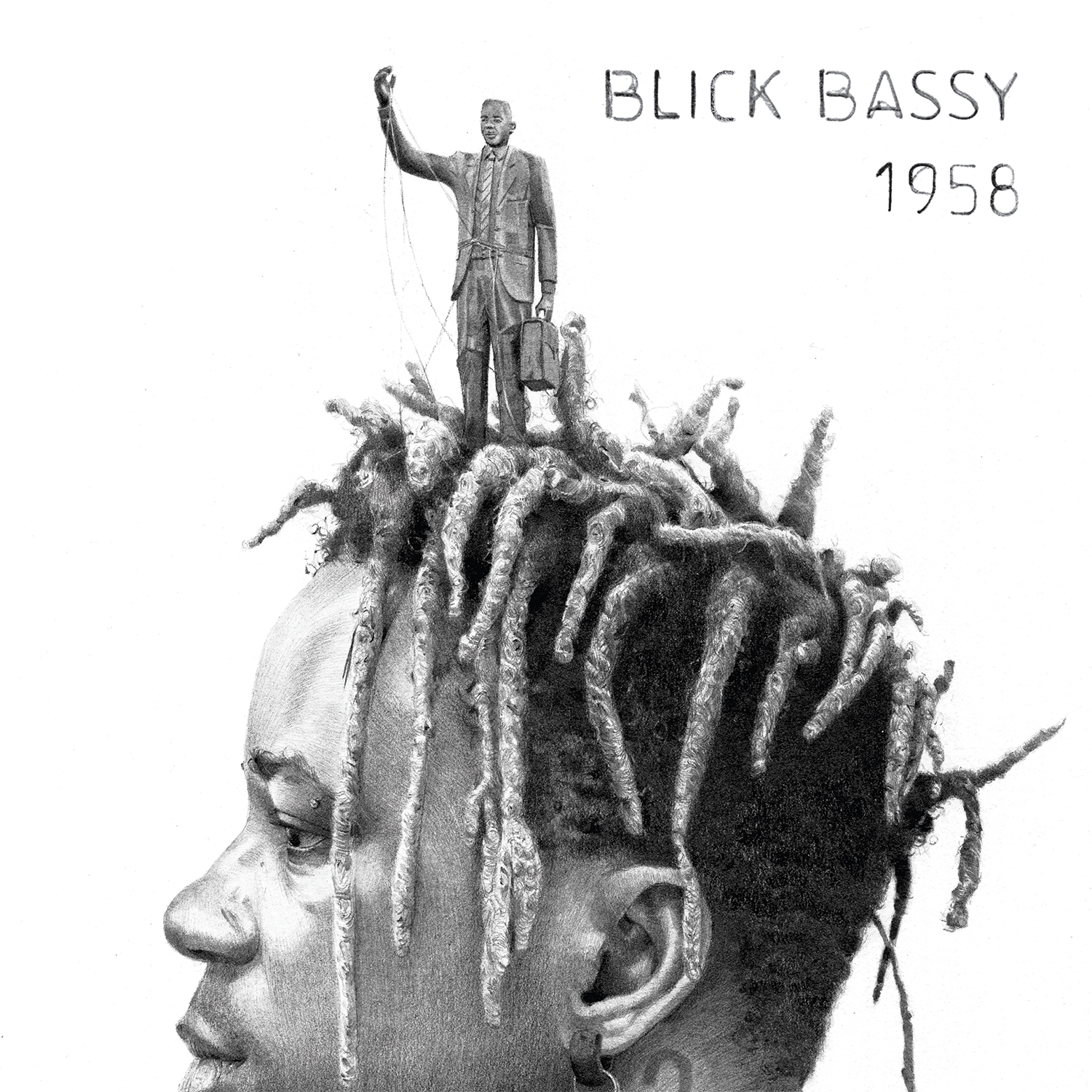 Cover art from Blick Bassy's album 1958 - the artist's face in profile