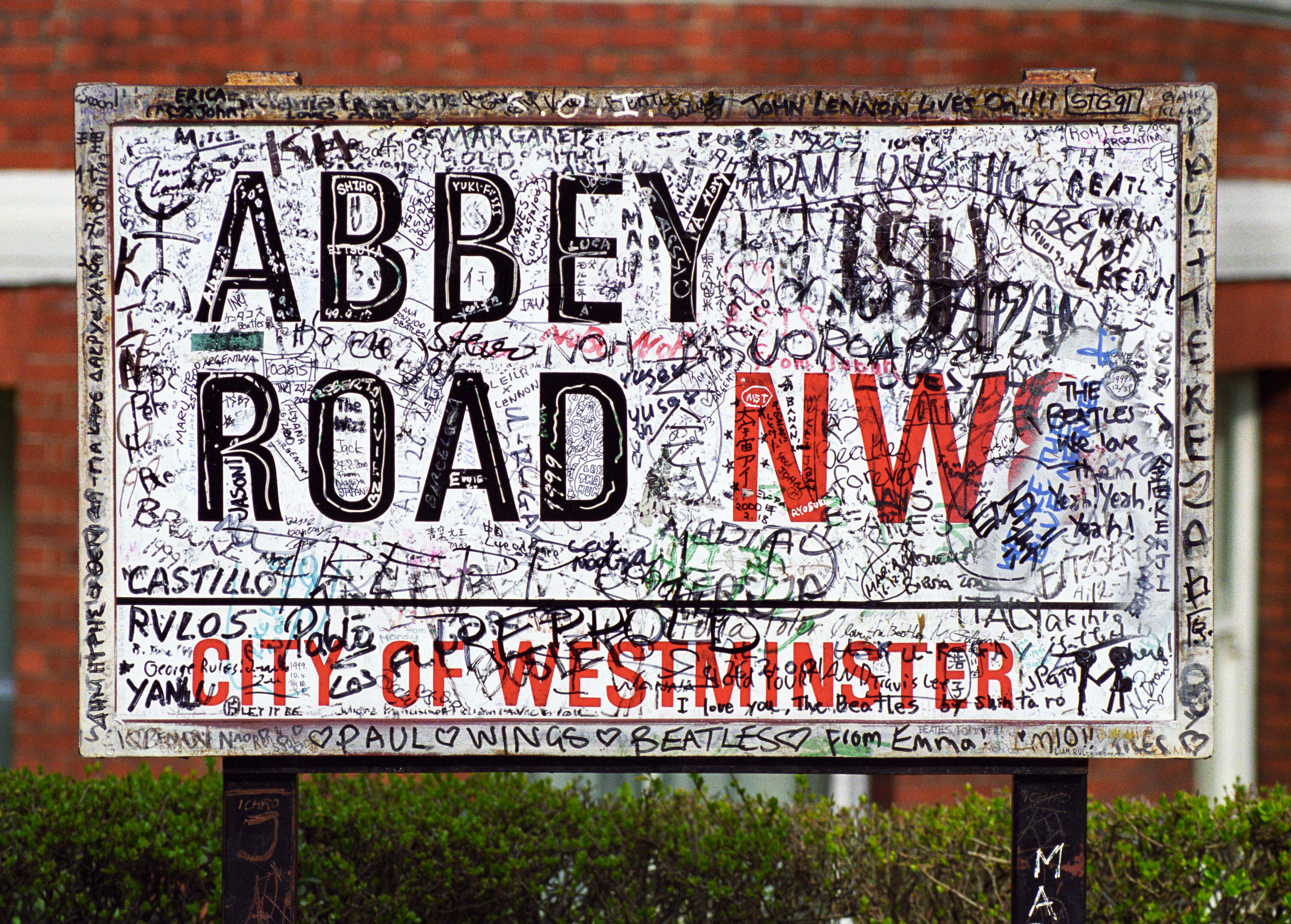 Abbey Road road sign (with graffiti)