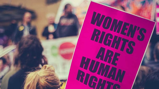 "Placard with ""Women's Rights are Human Rights"" on it."