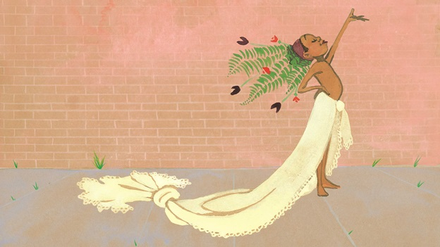 An illustration of a boy in a headdress and long sheet tied around the waist from Julian is a Mermaid by Jessica Love