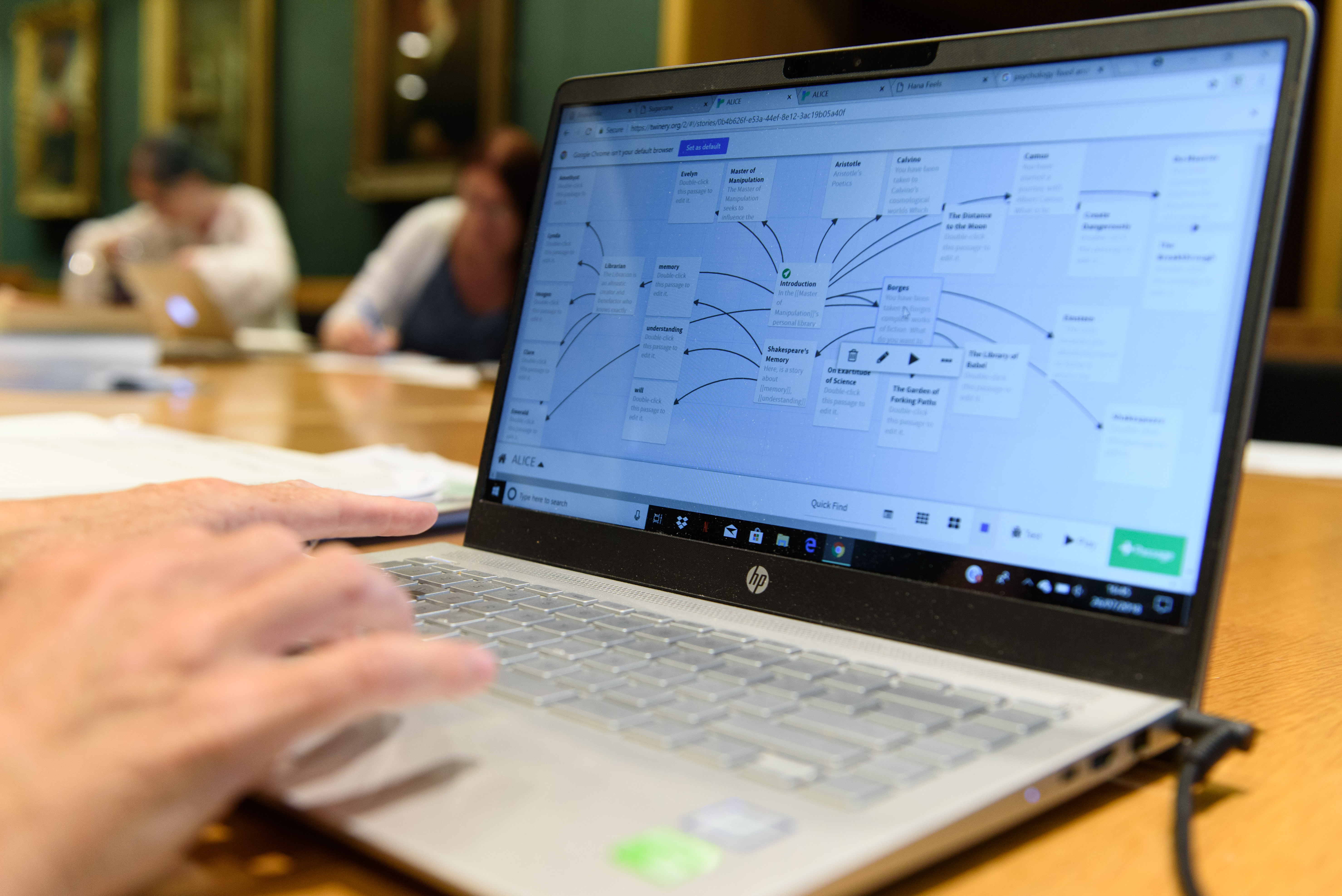 A laptop screen displaying a story map