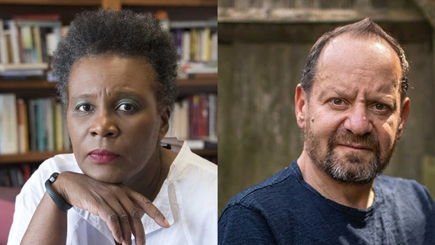 Claudia Rankine (credit: John Lucas) and Philippe Sands (credit: Antonio Olmos)