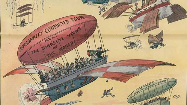 A drawing of lots of hot air balloons above the earth: A vision by J S Pugh of balloon traffic rendering the Panama Canal obsolete. From Puck magazine, 31 January 1906. From the Prints and Drawings Division, Library of Congress, Washington DC.