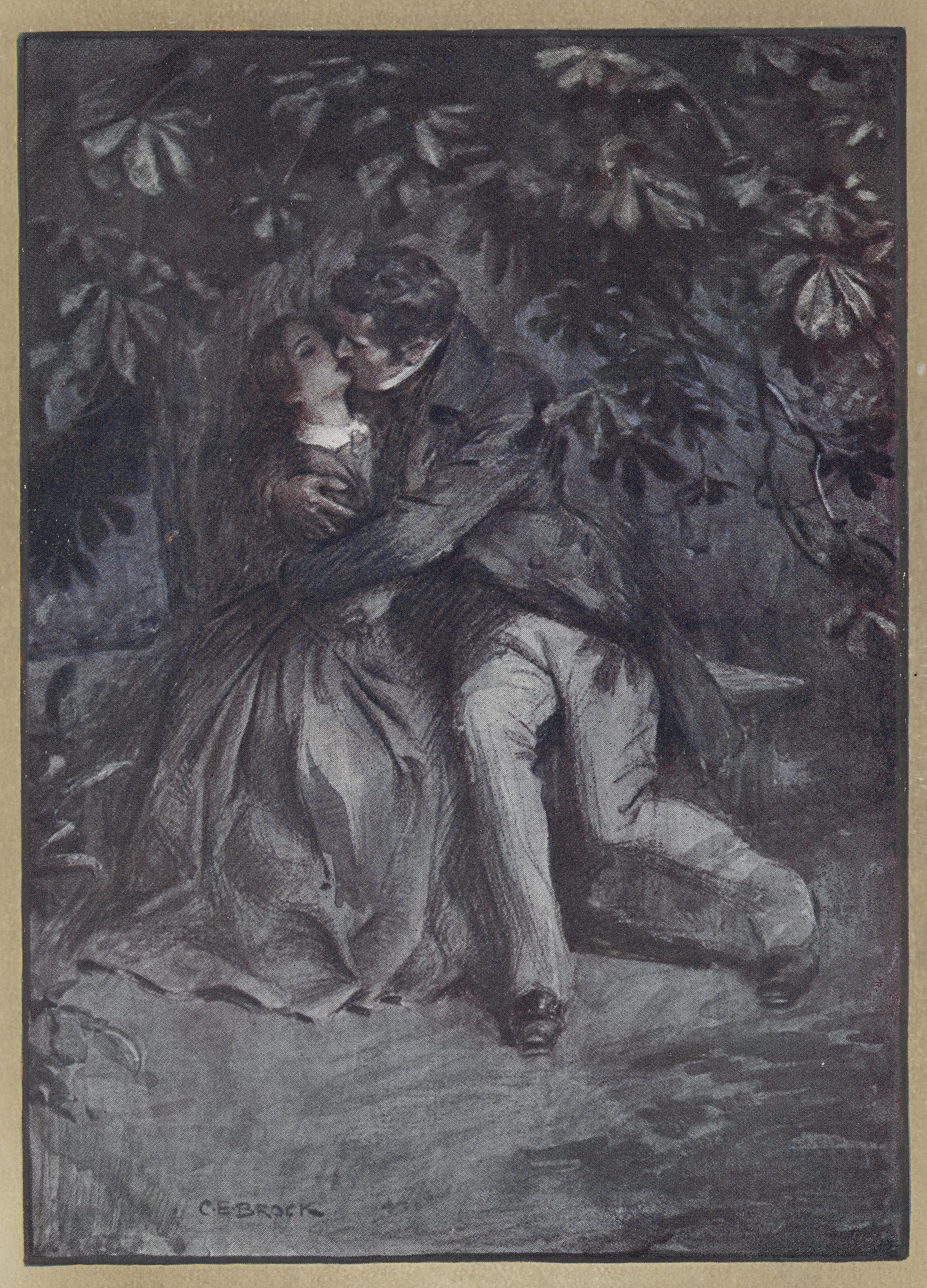 Painting of Jane Eyre embracing Mr Rochester from 1911