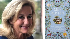 A photo of writer Gill Hornby alongside the cover art from her book Miss Austen