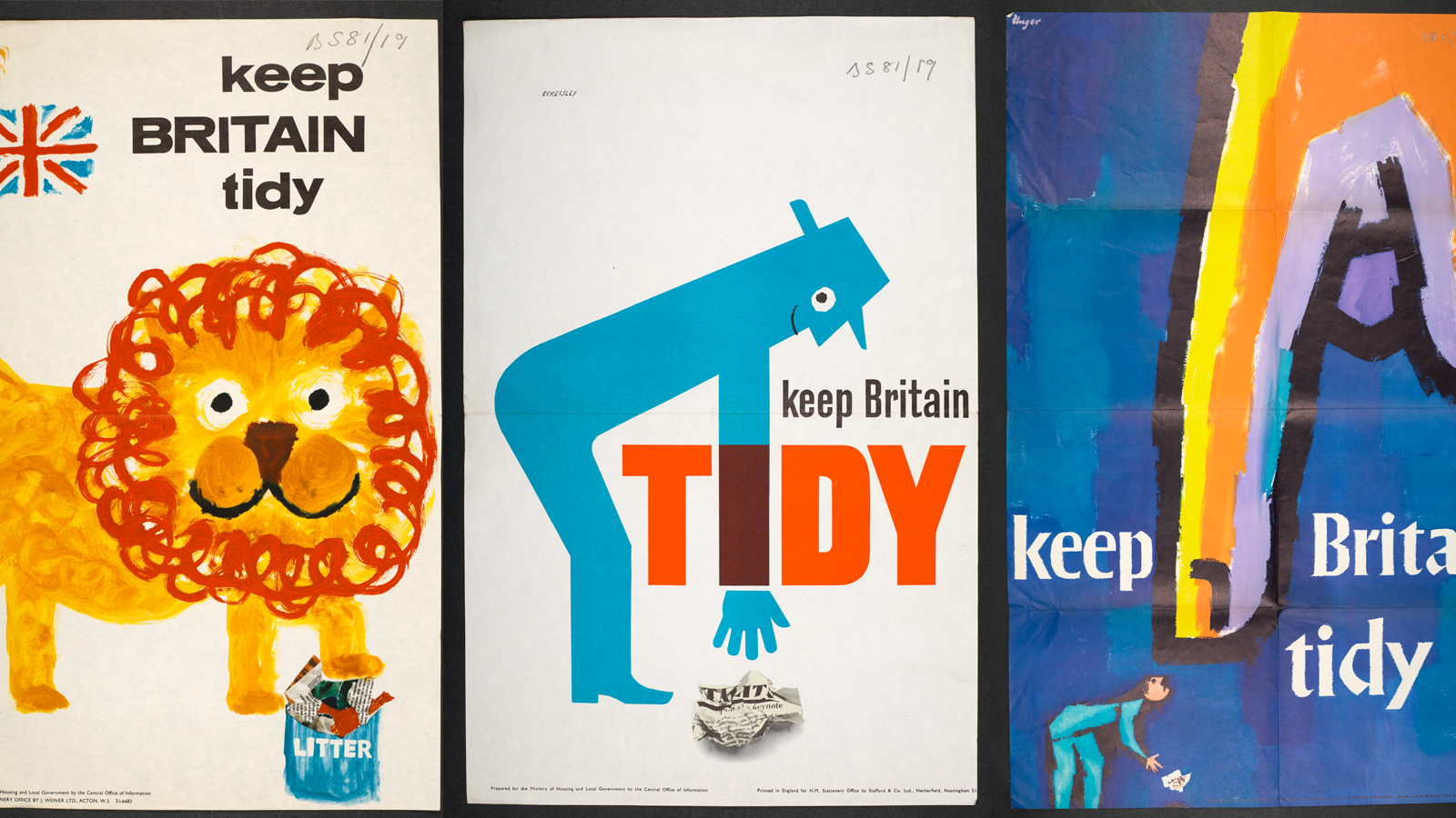 Three Keep Britain Tidy posters - one featuring a lion, one a blue silhouetted figure picking up rubbish, one a giant finger pointing down at someone littering