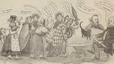 A Victorian cartoon showing women talking.