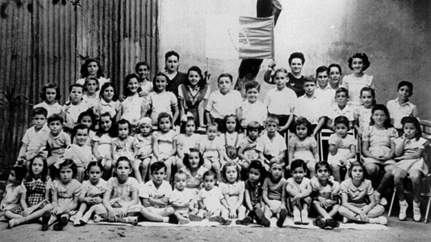 A black and white image of a group o Jewish Children — Trinidad (Photo Courtesy of Joanna Newman)
