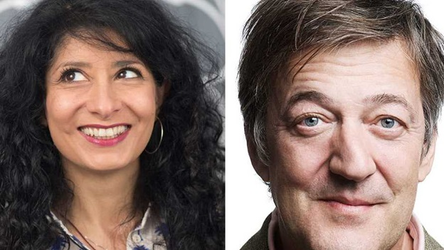 Shappi Khorsandi and Stephen Fry