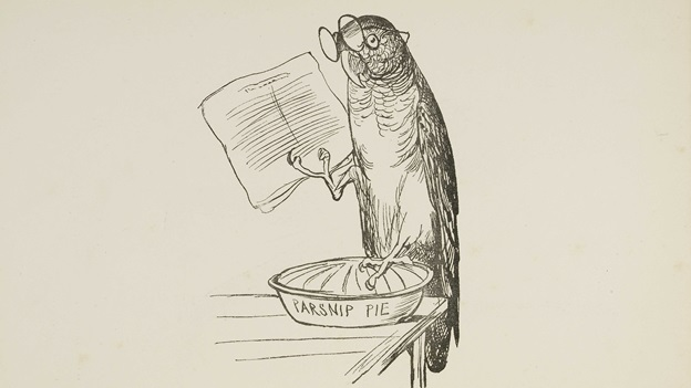 A poem and drawing by Edward Lear about a purple parrot.