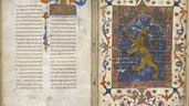 Jewish text illuminated with a rampant lion.