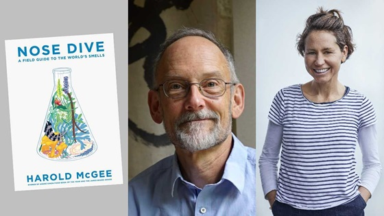 "Composite of Harold McGee, Tara Wigley and the cover of McGee's book ""Nose Dive"" which features an illustration of a conical beaker filled with natural objects like flowers and a feather."