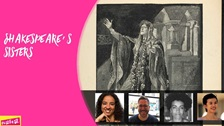 Composite of an illustration of Lady Macbeth, Adjoa Andoh, Dr Andy Kesson, Dr Vanessa Lim and Dr Wanda Wyporska.