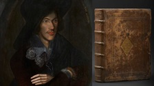 Images of John Donne and leather-bound book.