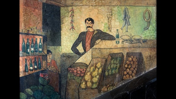 Painting of a man and selling fruit, vegetables and wine.